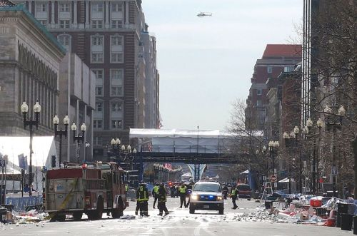 Emergency services working after the 2013 Boston Marathon Bombings